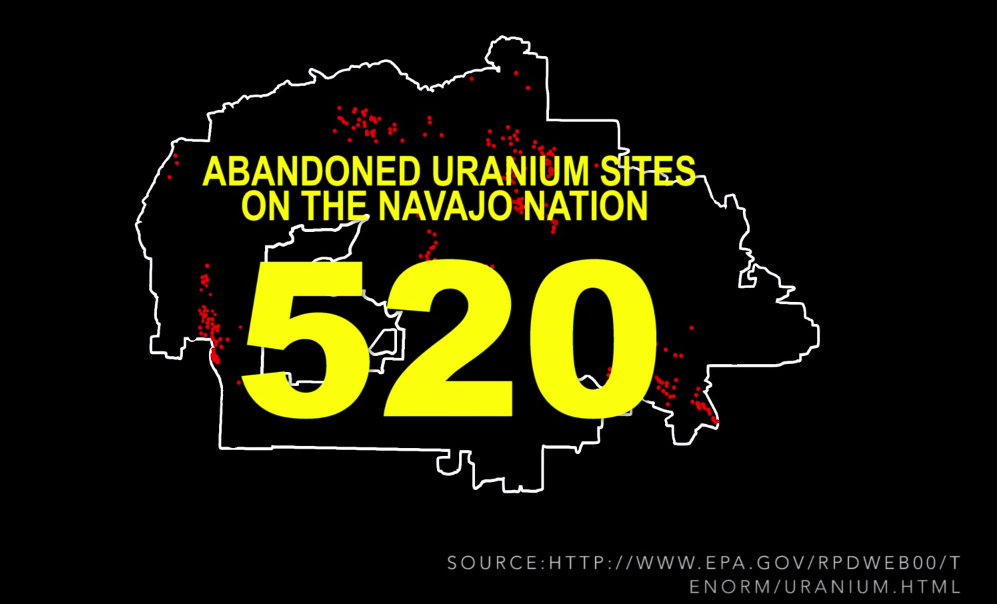 Map of locations of 520 abandoned uranium mines on Navajo/Hopi land